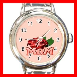 MOM WITH ROSE Mother Love Round Italian Charm Wrist Watch 495