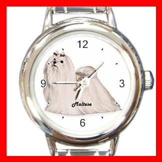 Maltese Dog Animal Pet Round Italian Charm Wrist Watch 503