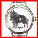 Schipperke Dog Animal Pet Round Italian Charm Wrist Watch 504