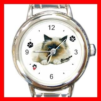 Cute Birman Cat Kitty Pet Round Italian Charm Wrist Watch 508