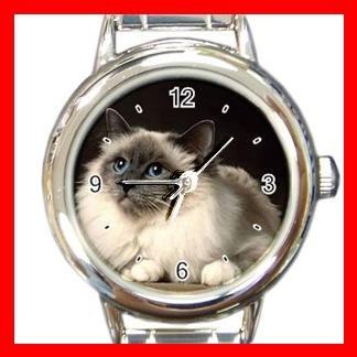 Birman Cat Kitty Pet Round Italian Charm Wrist Watch 511