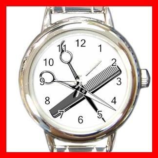 BARBER SCISSORS COMB Round Italian Charm Wrist Watch 512
