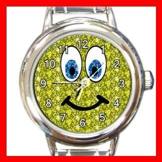 Yellow Smiley Face Smile Round Italian Charm Wrist Watch 514
