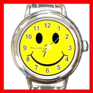 Yellow Smiley Face Smile Round Italian Charm Wrist Watch 515