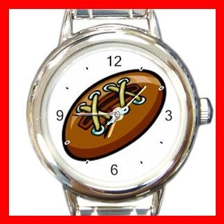 Lether Football Game Sport Round Italian Charm Wrist Watch 518