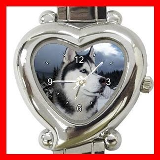 Siberian Husky Heart Italian Charm Wrist Watch 001