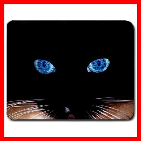 Black Cat Blue Eyes Cool Fan Mouse Pad MousePad Mat 057
