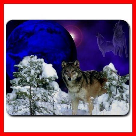 Grey Wolf Moon Snow Animal Mouse Pad MousePad Mat 104
