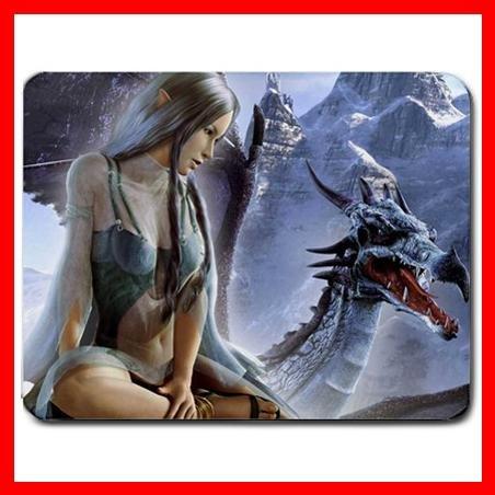 Elfe And Dragon Fantasy Myth Mouse Pad MousePad Mat 182
