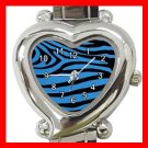 Blue and Black Zebra Skin Print Italian Charm Wrist Watch 005