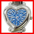 Blue and white Zebra Skin Print Italian Charm Wrist Watch 006