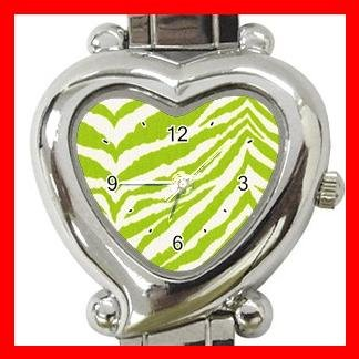 Green and white Zebra Skin Print Italian Charm Wrist Watch 007