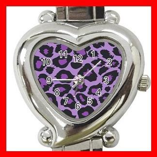Purple Leopard Skin Print Hobby Italian Charm Wrist Watch 010