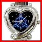 Wicca Pentagram Pagan Blue Hobby Italian Charm Wrist Watch 011