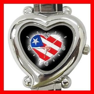 AMERICAN FLAG HEART Patriotic Hobby Italian Charm Wrist Watch 032