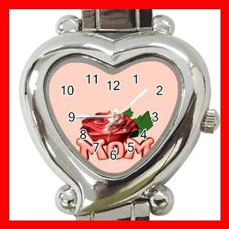 MOM WITH ROSE Pink Love Italian Charm Wrist Watch 034