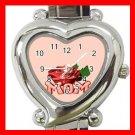 MOM WITH ROSE Pink Love Italian Charm Wrist Watch 034