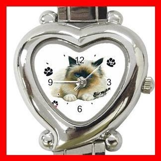 I Love Birman Cat Kitty Pet Italian Charm Wrist Watch 037