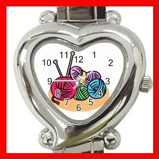KNITTING LIAYARN NEEDLES CRAFTS Italian Charm Wrist Watch 051