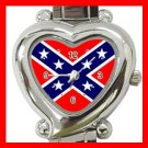 Rebel Confederate Flag Italian Charm Wrist Watch 108
