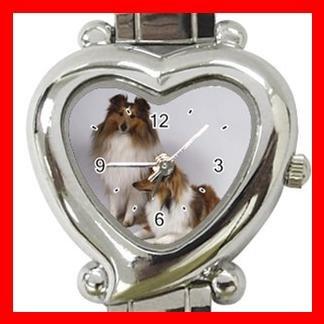 Shetland Sheepdog Dog Pet Heart Italian Charm Wrist Watch 116