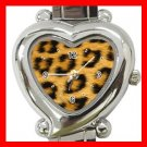 Leopard Skin Animal Heart Italian Charm Wrist Watch 117