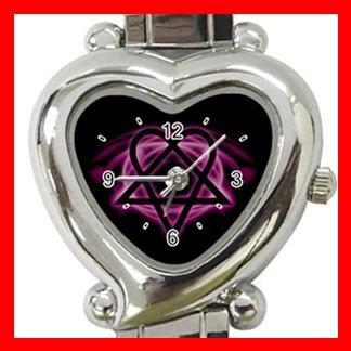 Pink Heartagram Heart Italian Charm Wrist Watch 121