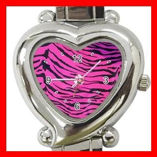 Pink Tiger Print Animal Heart Italian Charm Wrist Watch 124