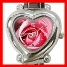 Pink Rose Flower Heart Italian Charm Wrist Watch 125