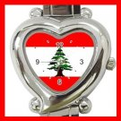LEBANESE FLAG Red Heart Italian Charm Wrist Watch 127
