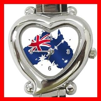 Australian Flag Nation Patriotic Heart Italian Charm Wrist Watch 128