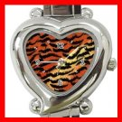 Tiger Skin Print Animal Heart Italian Charm Wrist Watch 130