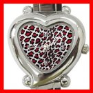 Red Leopard Print Animal Heart Italian Charm Wrist Watch 131