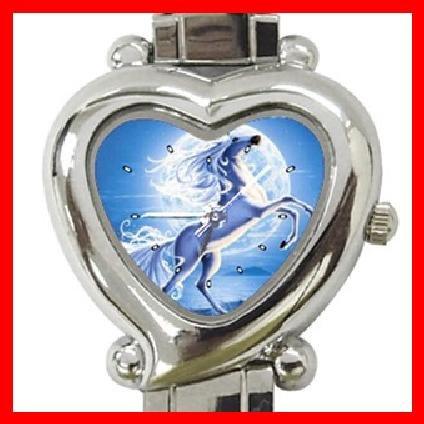 UNICORN AND MOON Flying Myth Heart Italian Charm Wrist Watch 150