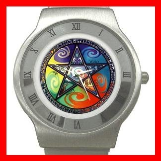WICCAN PENTACLE Stainless Steel Wrist Watch Unisex 001