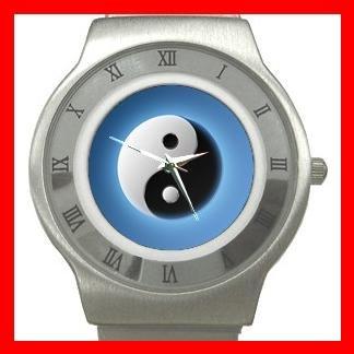 Blue Yin Yang Fortune Symbol Stainless Steel Wrist Watch Unisex 003