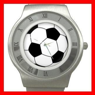 Sport Soccer Ball Game Stainless Steel Wrist Watch Unisex 008