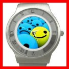 Cute 3D SMILEY Smile Faces Stainless Steel Wrist Watch Unisex 011