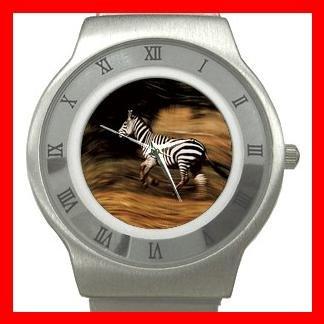 Zebra Running Horse Animal Stainless Steel Wrist Watch Unisex 017
