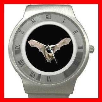 Rare Bat Flying In Dark Hobby Stainless Steel Wrist Watch Unisex 018