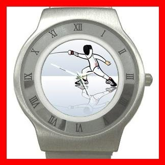 Fencing Sports Game Stainless Steel Wrist Watch Unisex 021