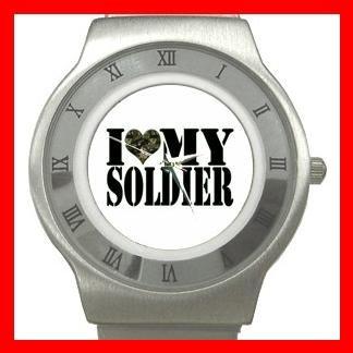 I Love My Soldier Army Stainless Steel Wrist Watch Unisex 032