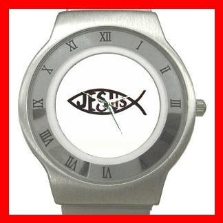 Christian Jesus Fish Stainless Steel Wrist Watch Unisex 033