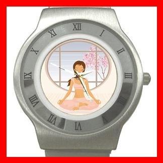 Yoga Girl Gym Sports Game Stainless Steel Wrist Watch Unisex 036
