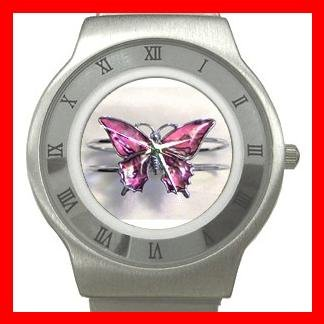 Pink Butterfly Fly Insect Stainless Steel Wrist Watch Unisex 044