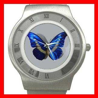 Most Beautiful Blue Butterfly Stainless Steel Wrist Watch Unisex 045