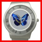 Most Beautiful Blue Butterfly Stainless Steel Wrist Watch Unisex 045