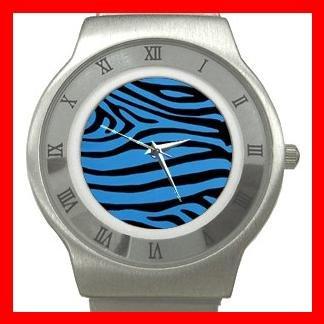 Blue Black Zebra Skin Print Stainless Steel Wrist Watch Unisex 046
