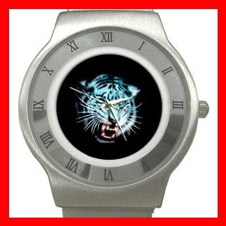 White Tiger Animal Stainless Steel Wrist Watch Unisex 048