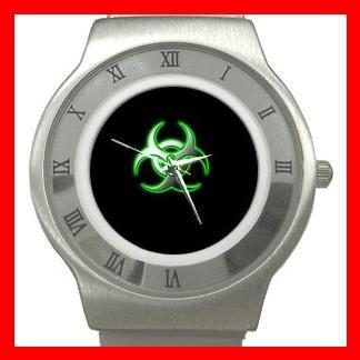 Biohazard Bio Hazard Green Stainless Steel Wrist Watch Unisex 049